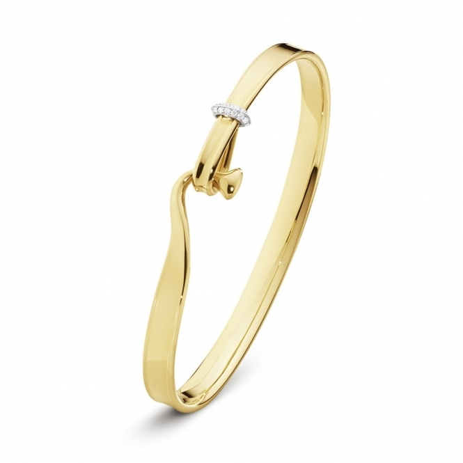 18ct Yellow Gold Diamond Set Torun Bangle Size Medium Georg Jensen
