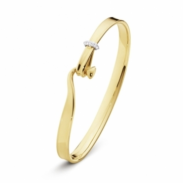 18ct Yellow Gold Diamond Set Torun Bangle Size Medium