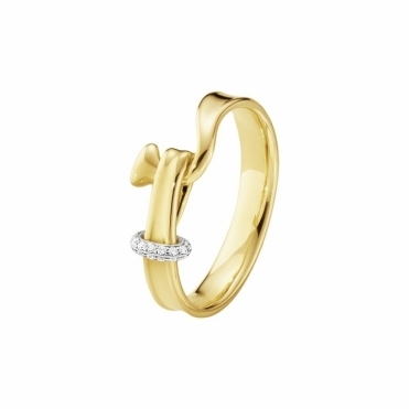 18ct Yellow Gold & Diamond Torun Ring
