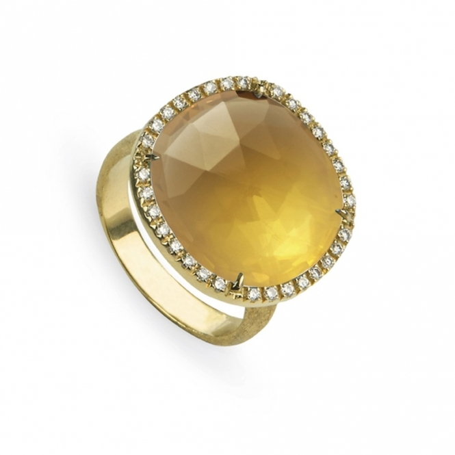 18ct Yellow Gold Diamond & Yellow Quartz Jaipur Ring