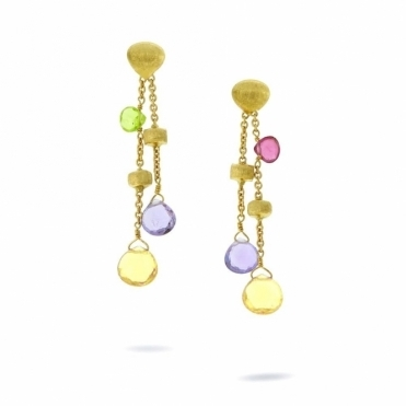 18ct yellow gold double strand paradise earrings