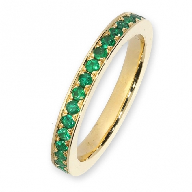 18ct yellow gold emerald full eternity ring