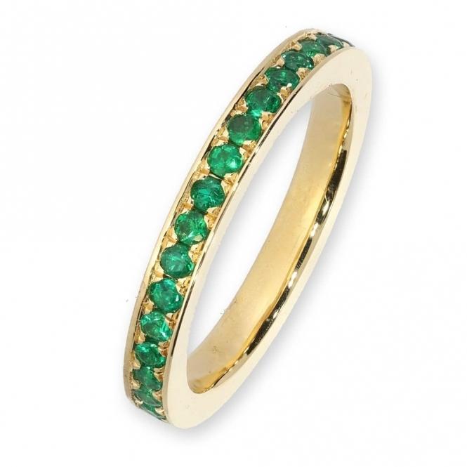 18ct yellow gold emerald full eternity ring