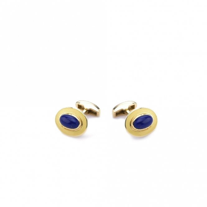18ct Yellow Gold Enamel & Lapis Spring Back Cufflinks