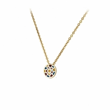 18ct Yellow Gold Enamelled Alban Baby Rose Pendant