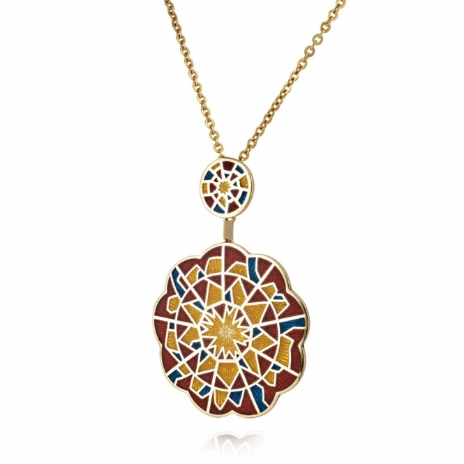 18ct Yellow Gold Enamelled Alban Double Rose Pendant