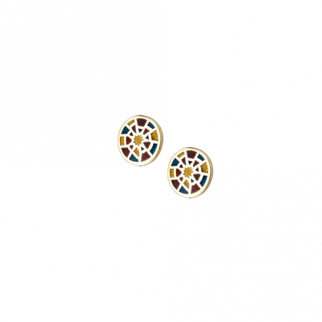 18ct Yellow Gold Enamelled Alban Rose Earrings