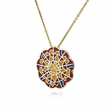 18ct Yellow Gold Enamelled Alban Rose Pendant