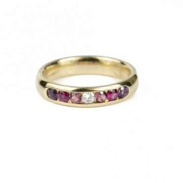 18ct Yellow Gold Gemstone Half Eternity Ring RRP £985