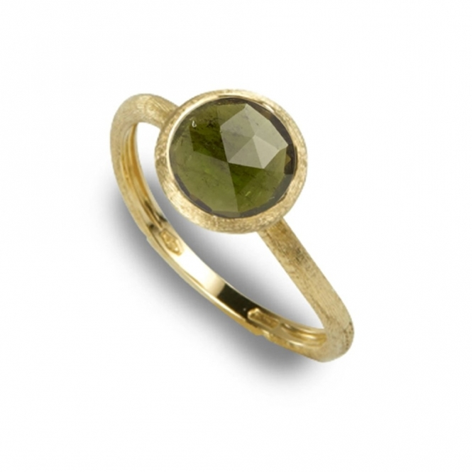 18ct Yellow Gold Green Tourmaline Jaipur Ring
