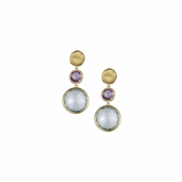 18ct Yellow Gold Jaipur Amethyst & Blue Topaz Drop Earrings