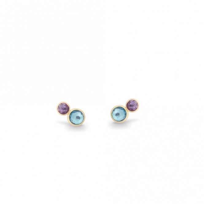 18ct Yellow Gold Jaipur Amethyst & Blue Topaz Stud Earrings