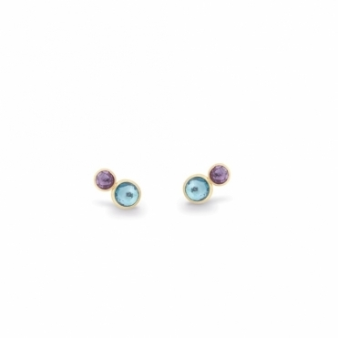 18ct Yellow Gold Jaipur Amethyst & Blue Topaz Stud Earrings