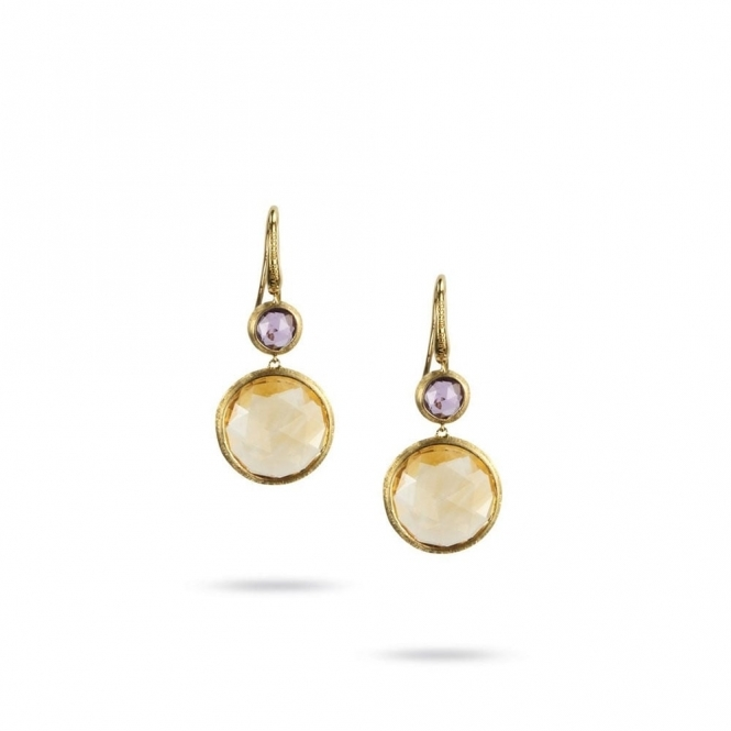 18ct Yellow Gold Jaipur Amethyst & Citrine Drop Earrings