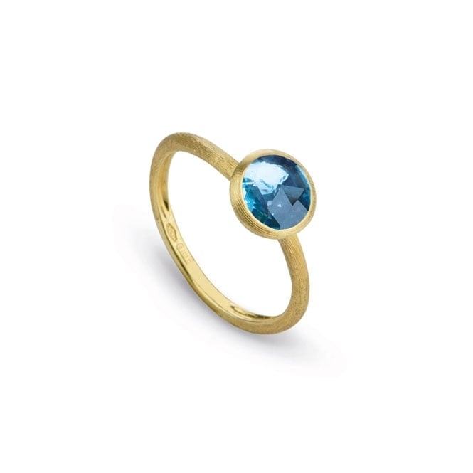 18ct Yellow Gold Jaipur Blue Topaz Single Stone Ring