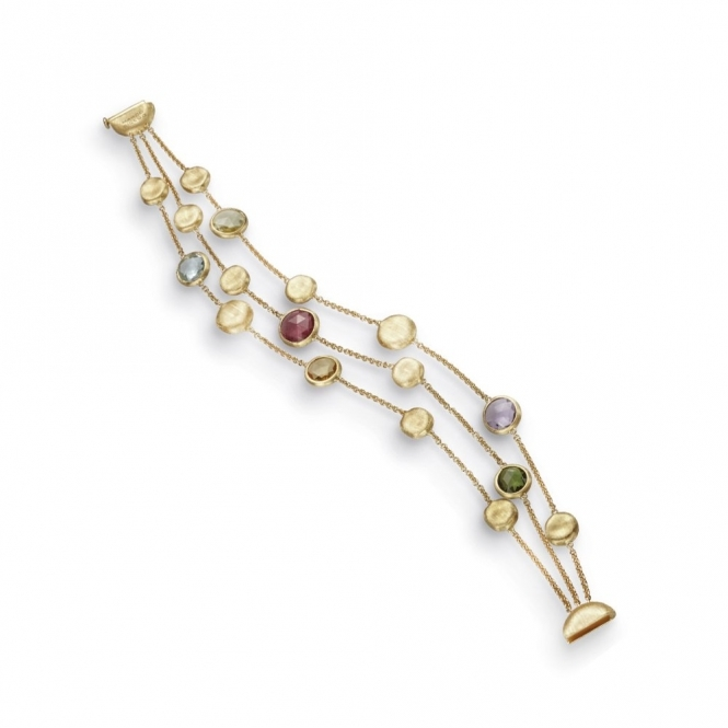 18ct Yellow Gold Jaipur Mixed Gem 3 Strand Bracelet