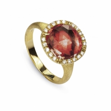 18ct Yellow Gold Jaipur Sunset Tourmaline & Diamond Ring
