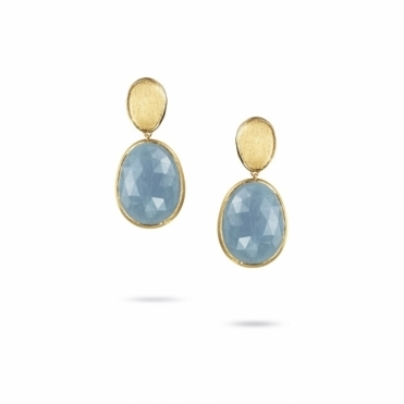 18ct Yellow Gold Lunaria Aquamarine Drop Earrings