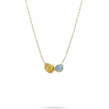 18ct Yellow Gold Lunaria Aquamarine Two Link Necklace