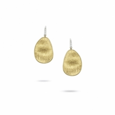 18ct Yellow Gold Lunaria Drop Earrings with White Gold Diamond Set Hooks