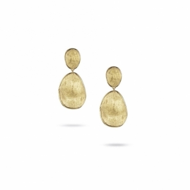 18ct Yellow Gold Lunaria Two Drop Earrings