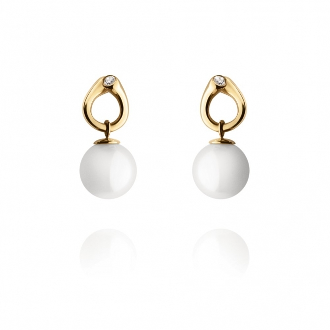 18ct Yellow Gold Magic White Pearl & Diamond Earrings