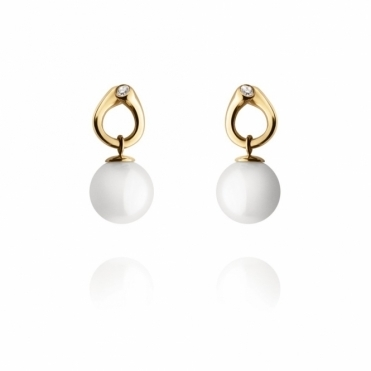 18ct Yellow Gold Magic White Pearl & Diamond Earrings