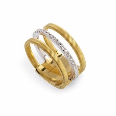 18ct Yellow Gold Masai Three Strand Diamond Ring