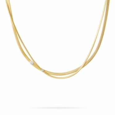 18ct Yellow Gold Masai Two Strand Diamond Necklace