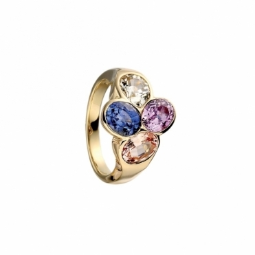 18ct Yellow Gold & Mixed Sapphire Ring