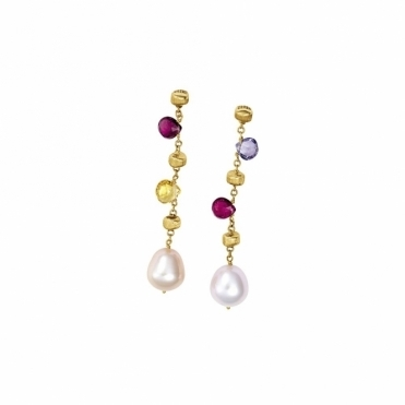 18ct Yellow Gold Mixed Stone & Pearl Paradise Earrings
