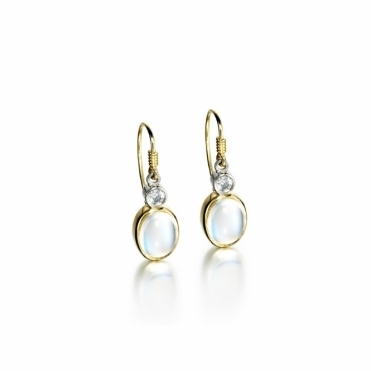 18ct Yellow Gold Moonstone & Diamond Set Earrings. Design No. 1U41A