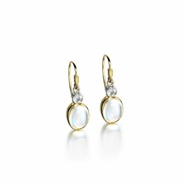 18ct Yellow Gold Moonstone & Diamond Set Earrings.