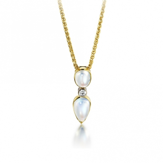 18ct Yellow Gold Moonstone & Diamond Set Pendant. Design No. 1U38A