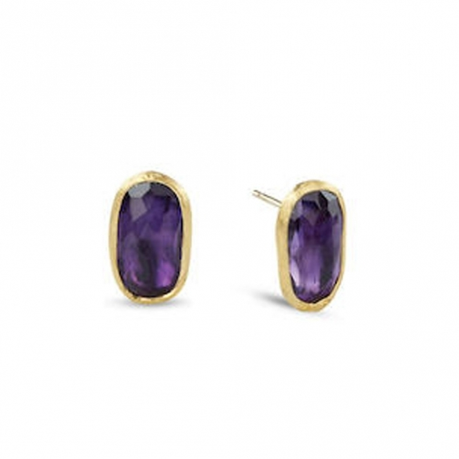 18ct Yellow Gold Murano Link Amethyst Stud Earrings