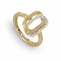 18ct Yellow Gold Murano Link Diamond Set Ring 0.11ct