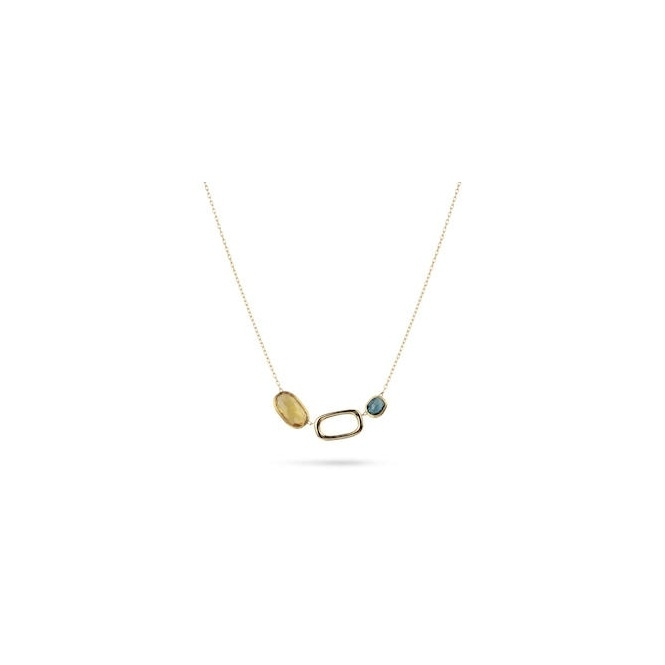 18ct Yellow Gold Murano Link Mixed Gem Quartz & Topaz Necklace