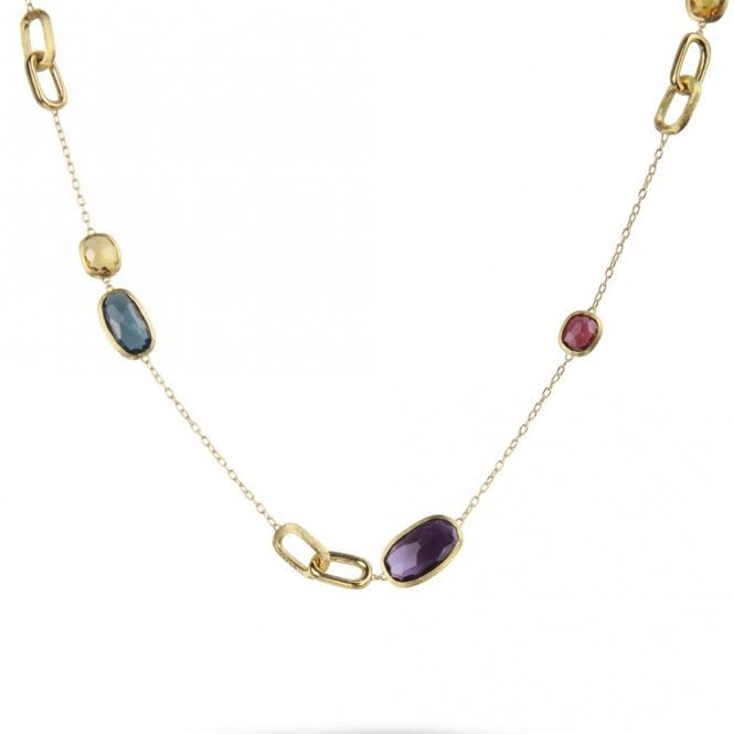 18ct Yellow Gold Murano Mixed Gem 46cm Necklace