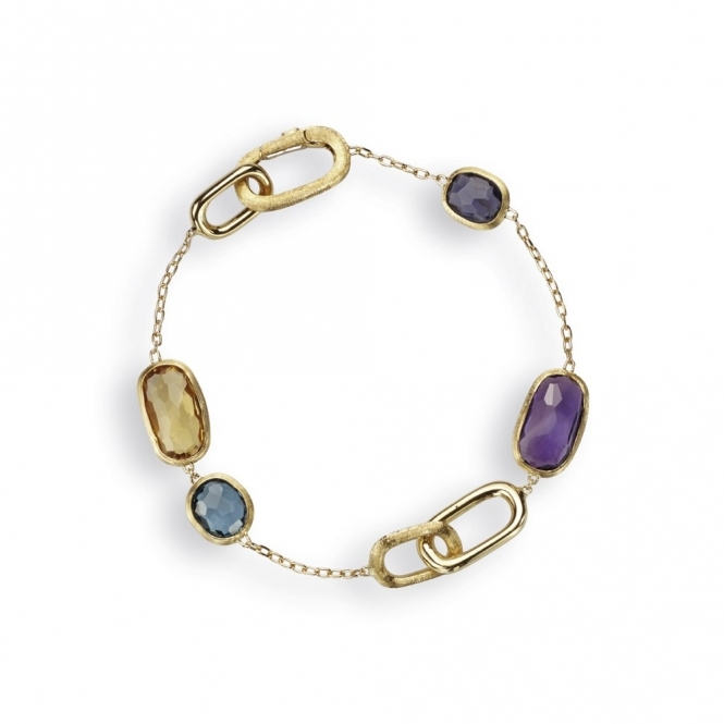 18ct Yellow Gold Murano Mixed Gem Bracelet