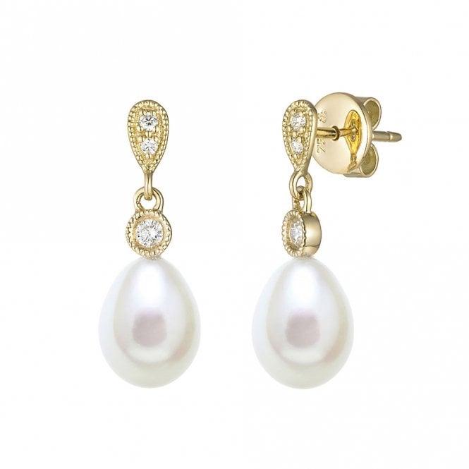18ct Yellow Gold Pearl and Diamond Drop Earrings