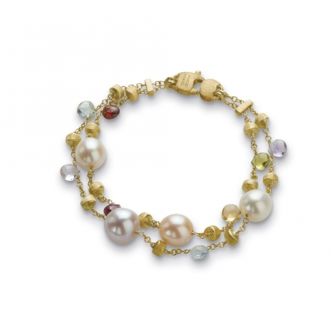 18ct Yellow Gold Pearl & Mixed Gem Paradise Bracelet