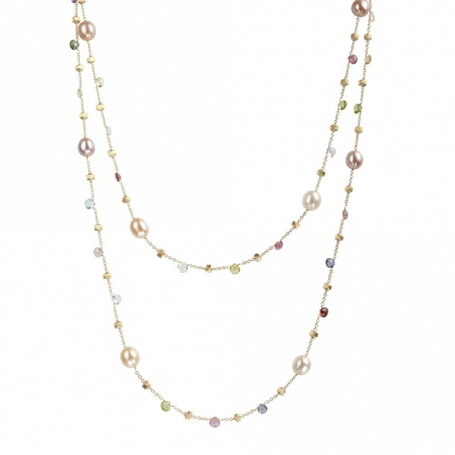 18ct Yellow Gold Pearl & Mixed Gem Paradise Necklace