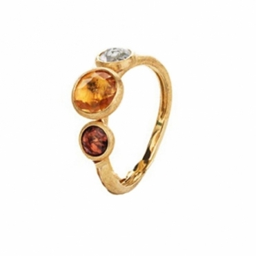 18ct Yellow Gold Pink Tourmaline Citrine & Blue Topaz Jaipur Ring