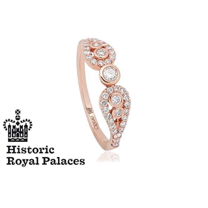 18ct Yellow Gold Royal Crown Diamond Ring Size M