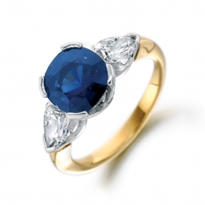 18ct Yellow Gold Three Stone Diamond & Sapphire Ring
