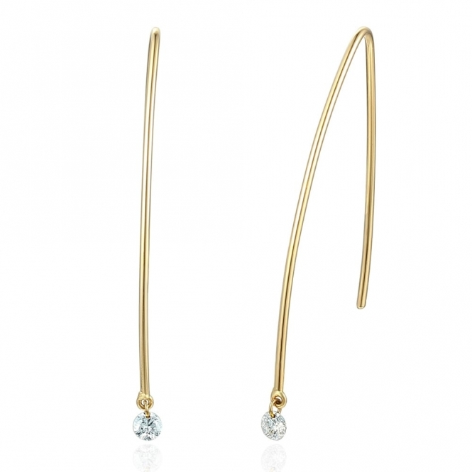 18ct Yellow Gold Wire Drop Diamond Earrings