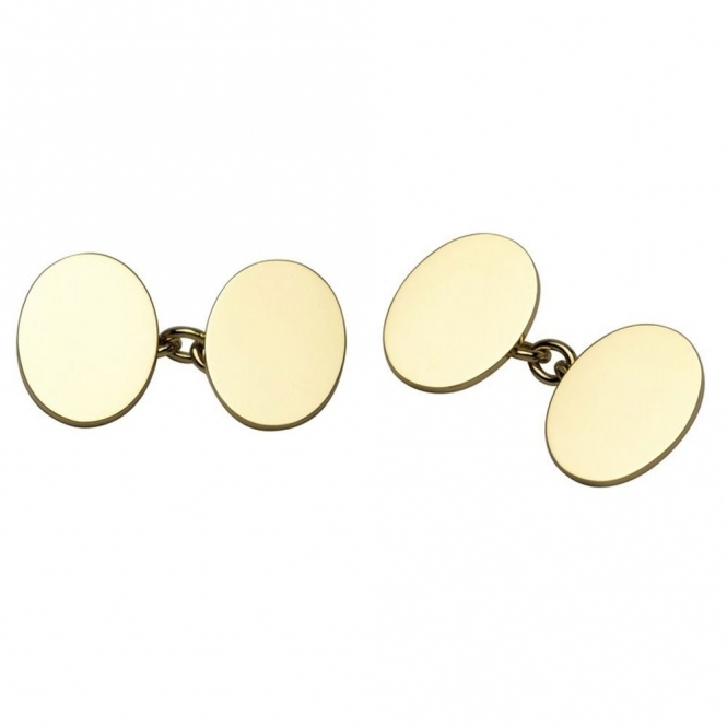 18ct Yellow Plain Oval Chain Link Cufflinks