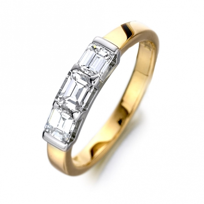 18ct Yellow Three Stone Emerald Cut Diamond Ring