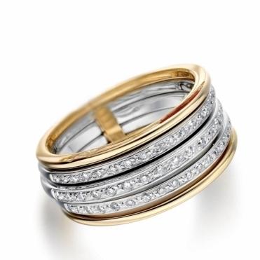 18ct Yellow & White Gold Diamond set Ring