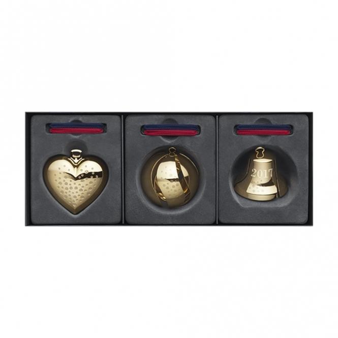 2017 Christmas Gold Plated Heart, Bell, Ball Gift Set